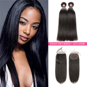 Brazilian Straight Hair 2 Bundles Virgin Human Hair Bundles With Lace Closure