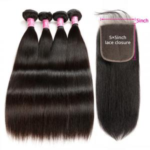 Brazilian Straight Hair 4 Bundles With Closure 5x5 For Women