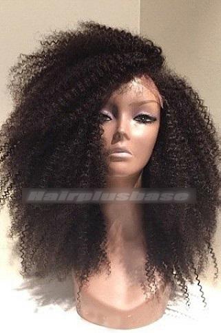 18 Inch Afro Curl Brazilian Virgin Hair Glueless Lace Wigs 200% Density