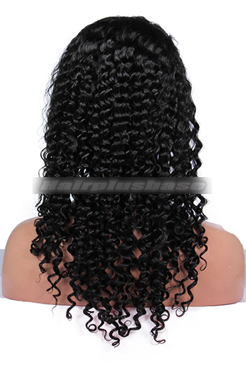 20 Inch Deep Curl Brazilian Virgin Hair Glueless Full Lace Wigs