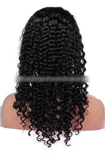 20 Inch Deep Curl Brazilian Virgin Hair Glueless Full Lace Wigs