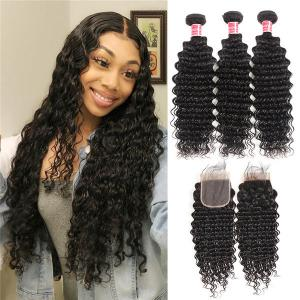 Brazilian Virgin Hair Deep Wave 3 Bundles With Lace Closure Human Hair