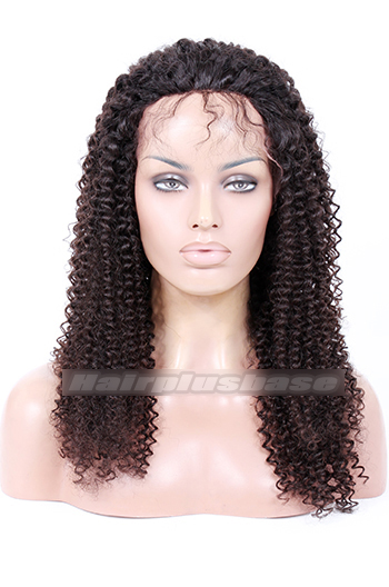 20 Inch Kinky Curl Brazilian Virgin Hair Full Lace Wigs