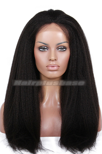 Luxury Kinky Straight Brazilian Virgin Hair Glueless Silk Top Lace Front Wigs