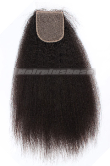Kinky Straight Brazilian Virgin Hair Silk Base Closure 4*4 Inches