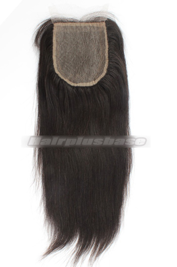Yaki Straight Brazilian Virgin Hair Silk Base Closure 4*4 Inches