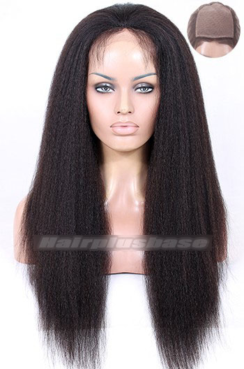 Kinky Straight Brazilian Virgin Hair Silk Top Full Lace Wigs