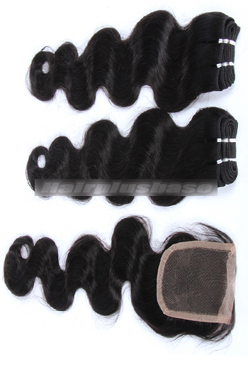 10-24 Inch Body Wave Brazilian Virgin Hair Weave A Lace Closure with 2 Bundles Deal