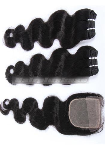 10-24 Inch Body Wave Brazilian Virgin Hair Weave A Silk Base Closure with 2 Bundles Deal
