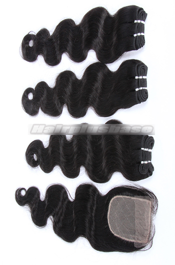 10-24 Inch Body Wave Brazilian Virgin Hair Weave A Silk Base Closure with 3 Bundles Deal