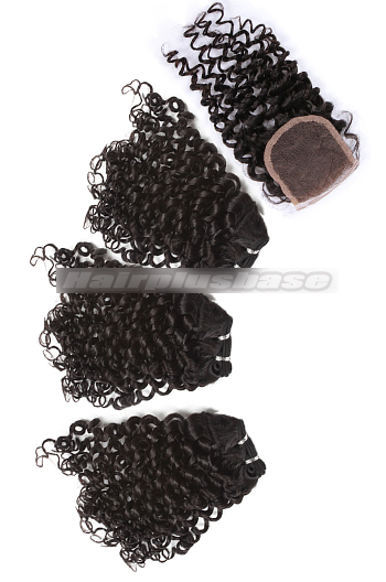 10-24 Inch Luxury Candy Curl Brazilian Virgin Hair Weave 3 Bundles with A Lace Closure Deal