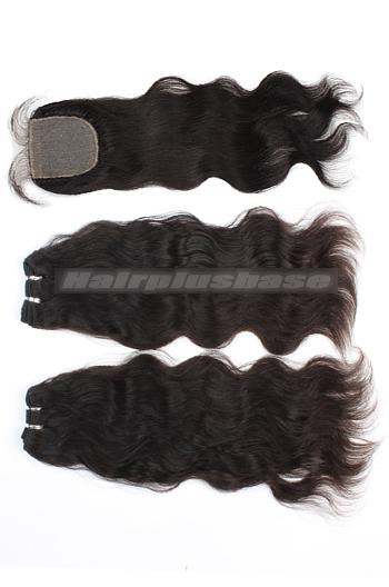 10-24 Inch Natural Straight Brazilian Virgin Hair Weave A Silk Base Closure with 2 Bundles Deal