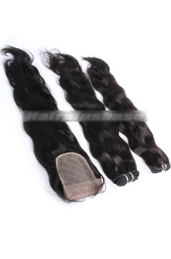 10-24 Inch Natural Wave Brazilian Virgin Hair Weave A Silk Base Closure with 2 Bundles Deal