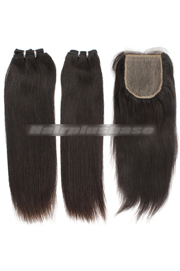 10-24 Inch Silky Straight Brazilian Virgin Hair Weave A Silk Base Closure with 2 Bundles Deal