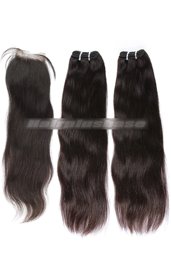 10-24 Inch Straight Brazilian Virgin Hair A Silk Base Closure with 2 Bundles Deal