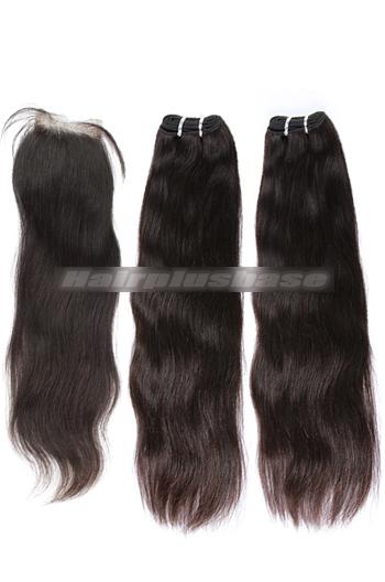 10-24 Inch Straight Brazilian Virgin Hair A Silk Base Closure with 2 Bundles Deal