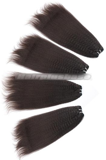 10-24 Inch Kinky Straight Brazilian Virgin Hair Weave 4 Bundles Deal