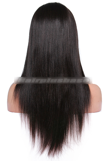 20 Inch Yaki Straight Brazilian Virgin Hair Glueless Full Lace Wigs