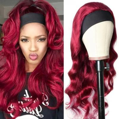 Burgundy 99J Headband Wig Body Wave Hair Wigs With Pre-attached Scarf