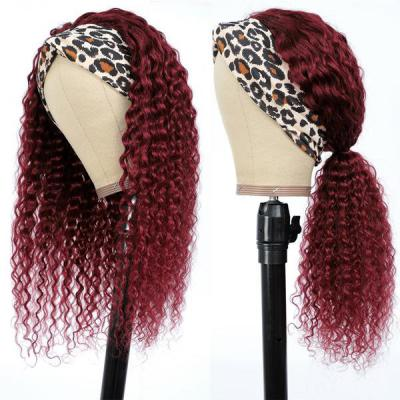 Burgundy 99J Headband Wig Kinky Curly Human Hair Wigs