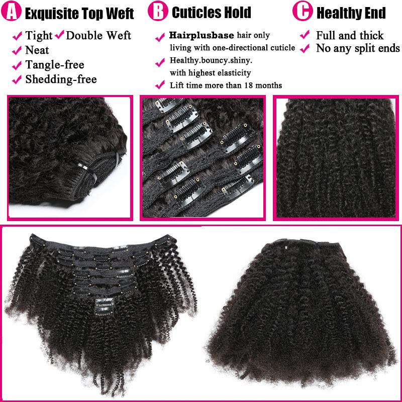 Cheap Afro Kinky Curly Clip In Human Hair Extensions For Black Hair 120g 2