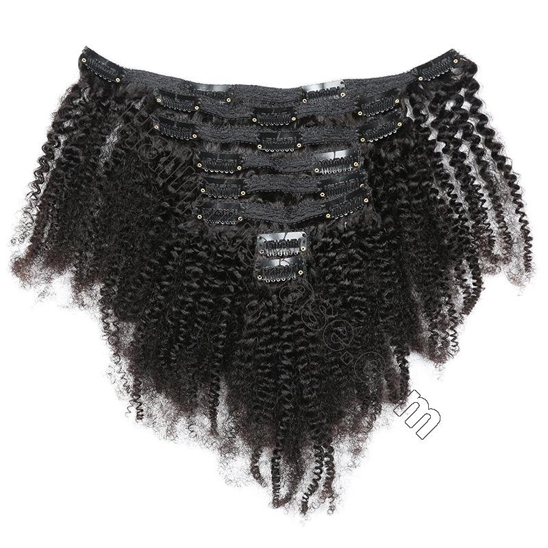 Cheap Afro Kinky Curly Clip In Human Hair Extensions For Black Hair 120g 4