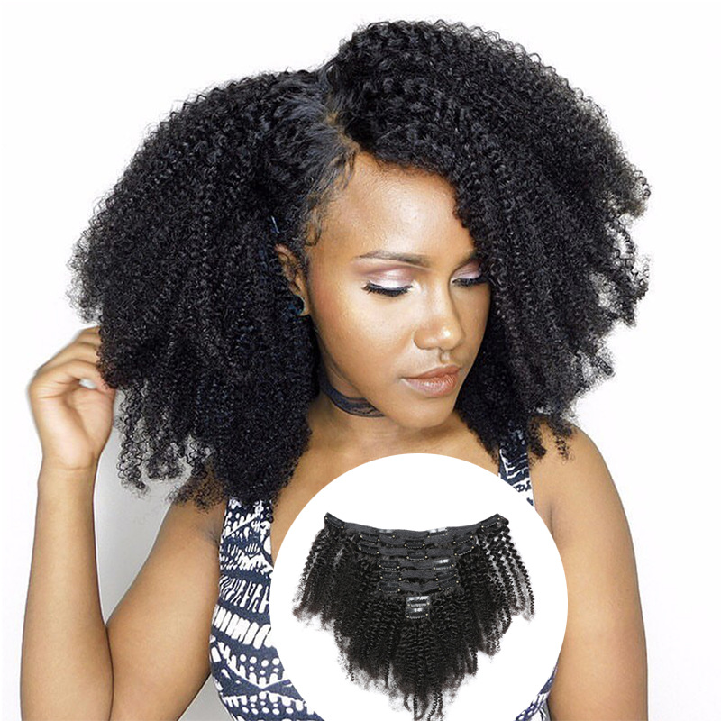 Cheap Afro Kinky Curly Clip In Human Hair Extensions For Black Hair 120g 7