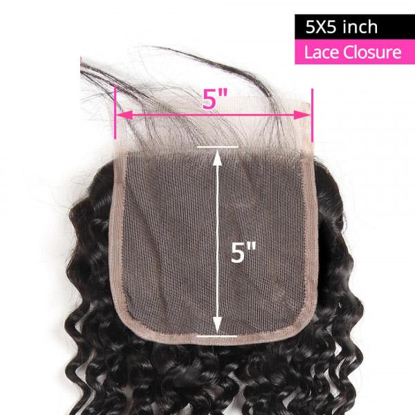 Cheap Curly Human Hair 5x5 Lace Closure Unprocessed Virgin Hair 3