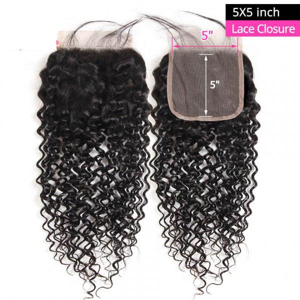 Cheap Curly Human Hair 5x5 Lace Closure Unprocessed Virgin Hair 8