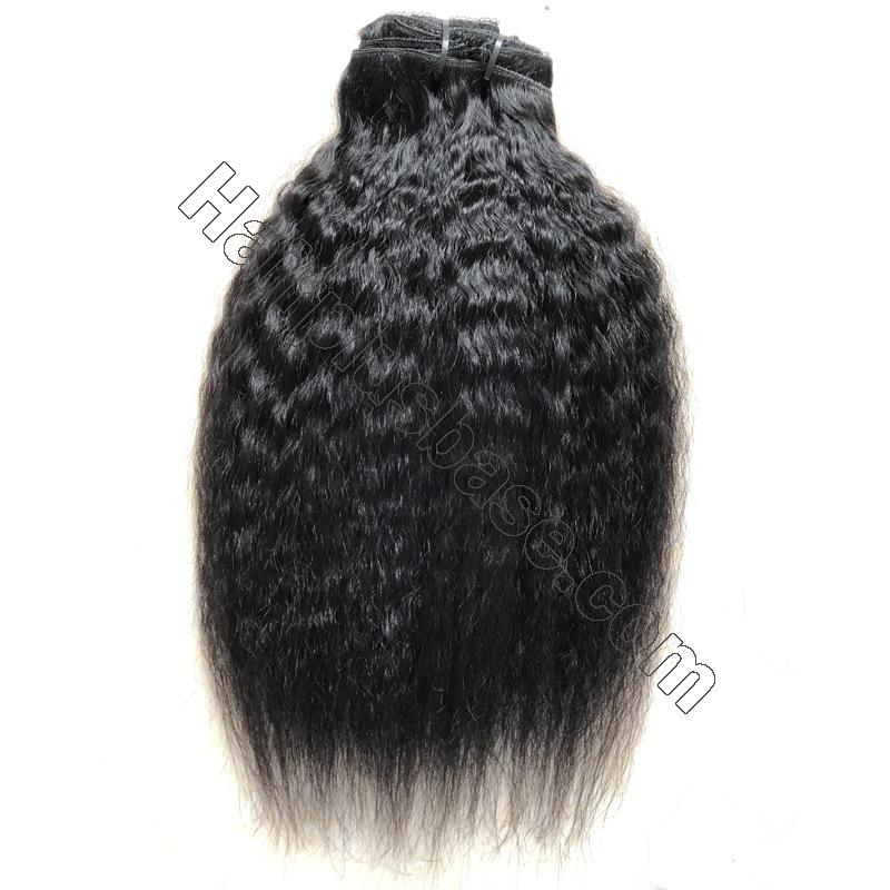 Cheap Kinky Straight Clip In Human Hair Extensions For Black Hair 120g 5