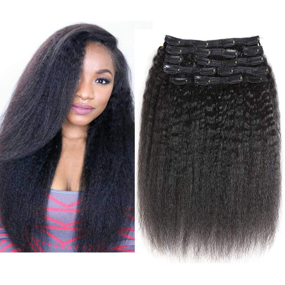 Cheap Kinky Straight Clip In Human Hair Extensions For Black Hair 120g 7