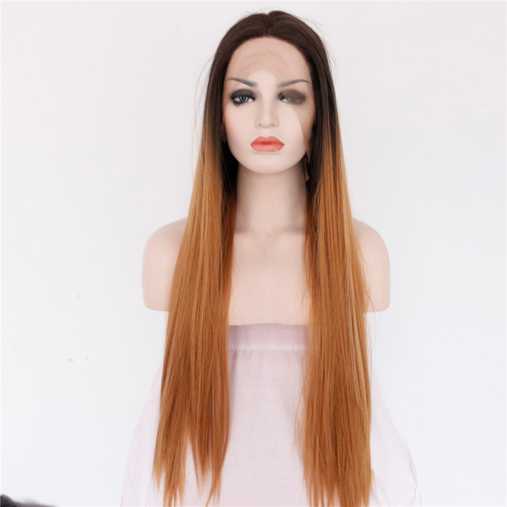 Chic Ombre Straight Synthetic Front Lace Wig For Woman