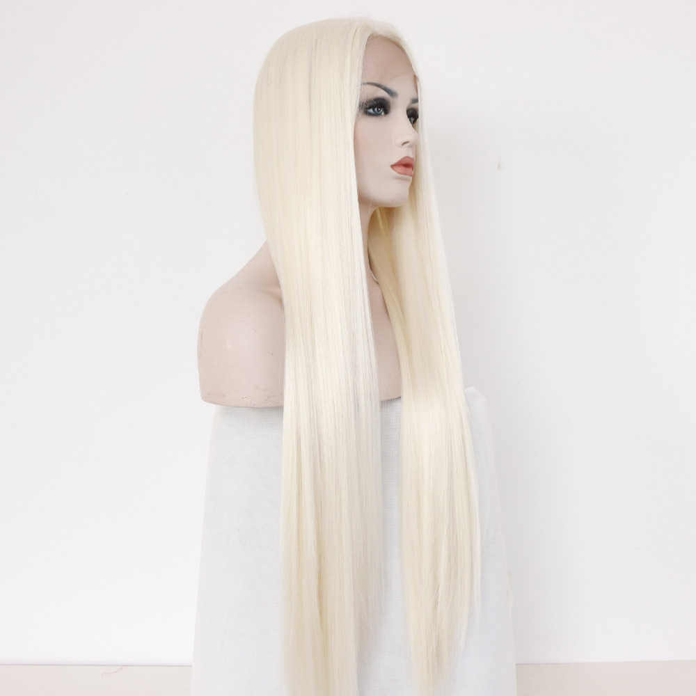 Chic Straight Heat Resistant Synthetic Hair White Blonde Lace Front Wig