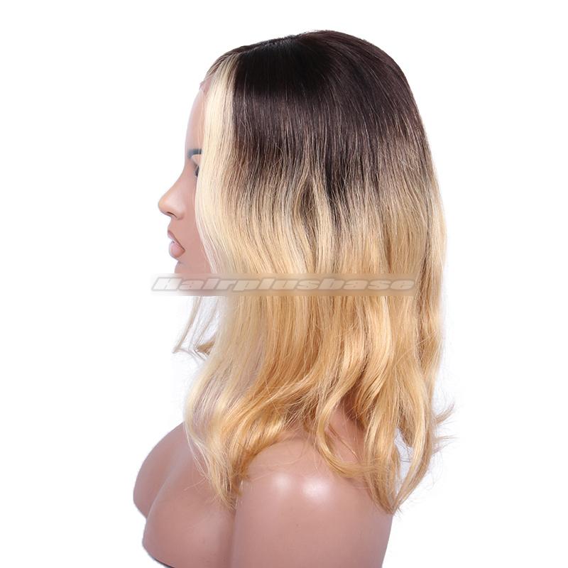 Ciara Ombre Honey Blonde Color Medium Bob Virgin Hair Lace Wigs