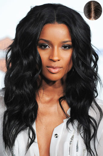 """20 Inch Ciara Wavy Indian Remy Hair #1 Lace Front Wigs With 4.5"""" Super Deep Middle Part {Custom Wig Production Time 10-15 working days}"""
