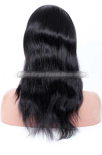 14 Inch Natural Straight #1 Jet Black Indian Remy Hair Clearance Full Lace Wig
