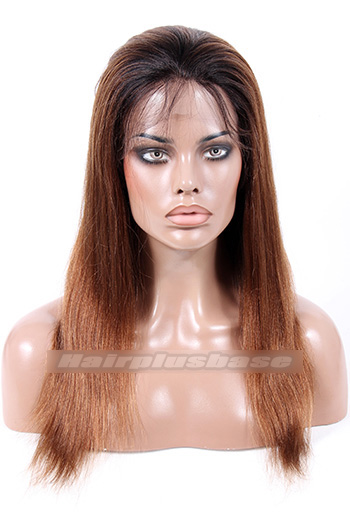 16 Inch Ombre #1B/#30 Yaki Straight Indian Remy Hair Clearance Full Lace Wig