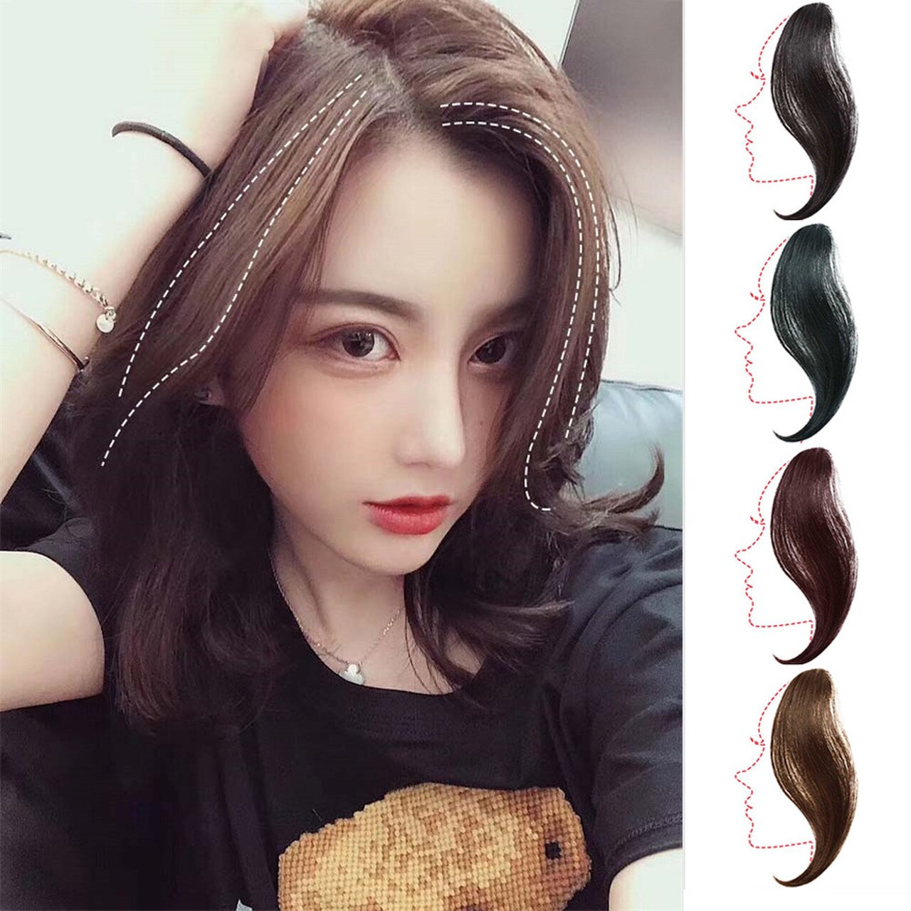 Clip In Air Fringe Long Hair Extension Side Fringe Middle Part Bang Hairpiece