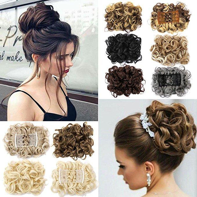 Clip In Hair Bun Chignon Piece Updo Cover Hair Extension Body Wavy For Women 0