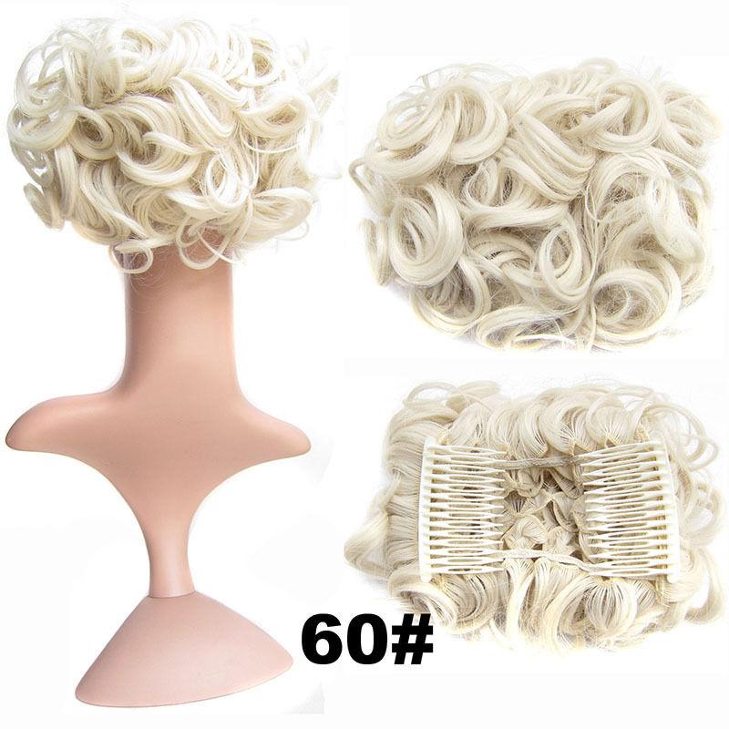 Clip In Hair Bun Chignon Piece Updo Cover Hair Extension Body Wavy For Women 15