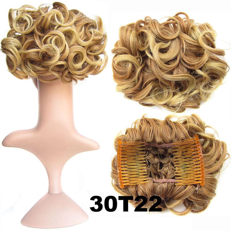Clip In Hair Bun Chignon Piece Updo Cover Hair Extension Body Wavy For Women 16