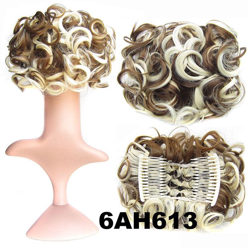 Clip In Hair Bun Chignon Piece Updo Cover Hair Extension Body Wavy For Women 17