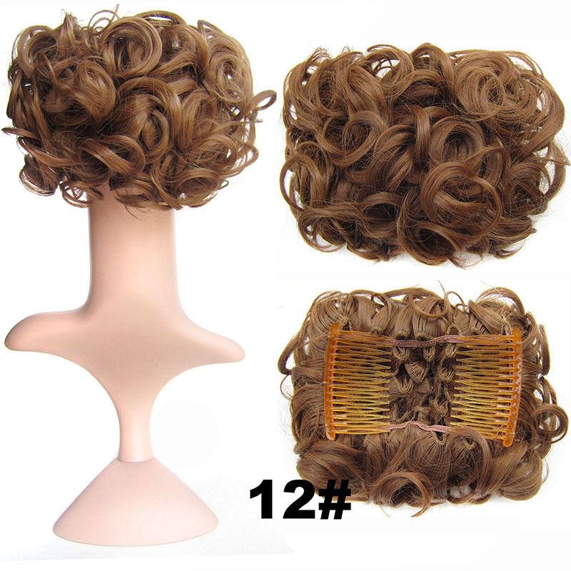 Clip In Hair Bun Chignon Piece Updo Cover Hair Extension Body Wavy For Women 18