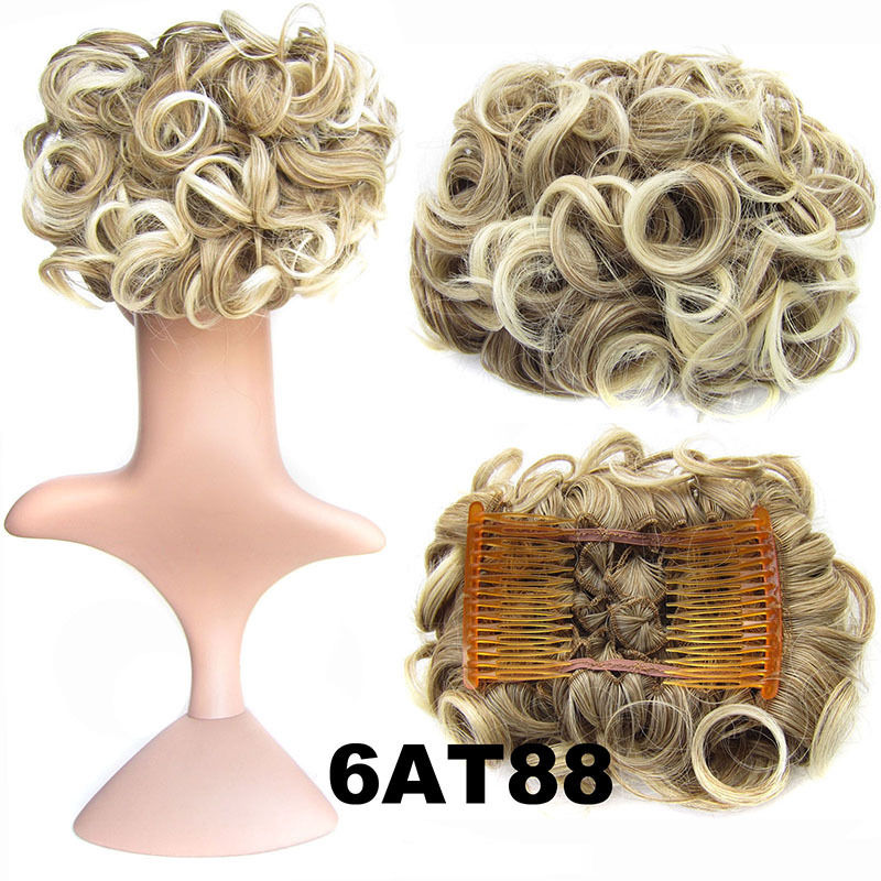 Clip In Hair Bun Chignon Piece Updo Cover Hair Extension Body Wavy For Women 19