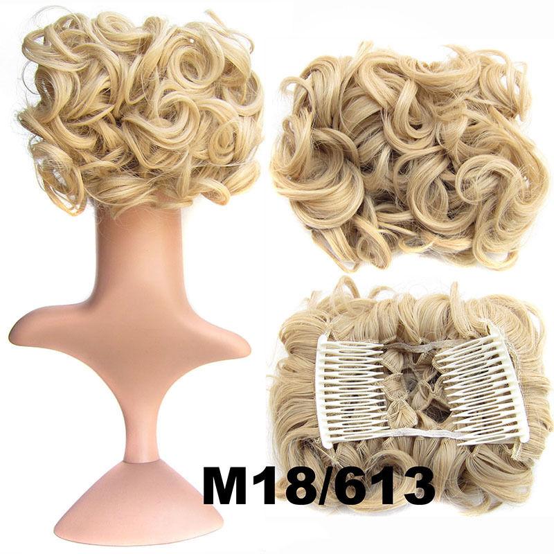 Clip In Hair Bun Chignon Piece Updo Cover Hair Extension Body Wavy For Women 2