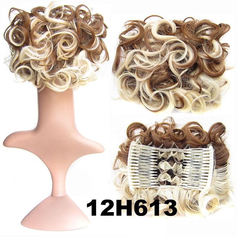 Clip In Hair Bun Chignon Piece Updo Cover Hair Extension Body Wavy For Women 22