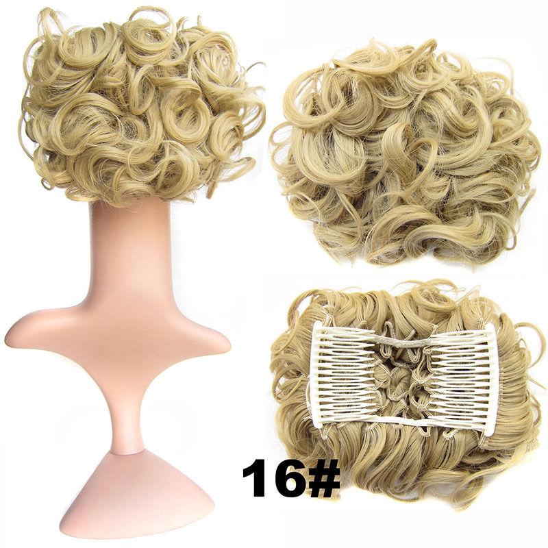 Clip In Hair Bun Chignon Piece Updo Cover Hair Extension Body Wavy For Women 23
