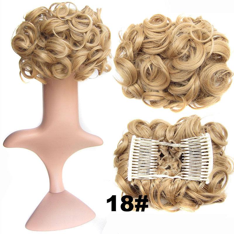 Clip In Hair Bun Chignon Piece Updo Cover Hair Extension Body Wavy For Women 24