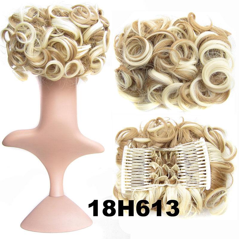 Clip In Hair Bun Chignon Piece Updo Cover Hair Extension Body Wavy For Women 3