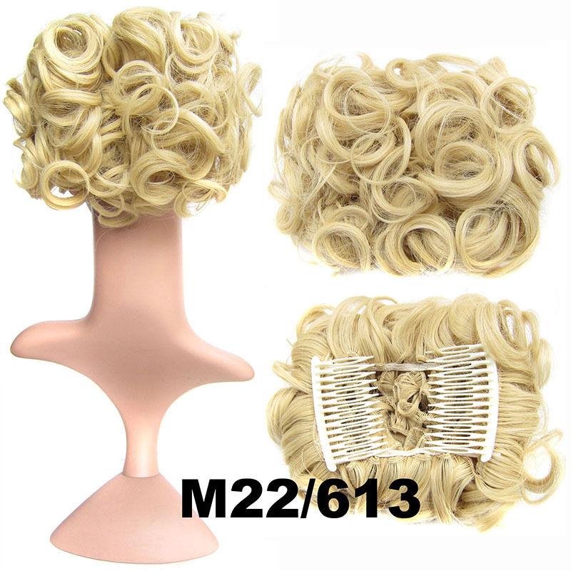 Clip In Hair Bun Chignon Piece Updo Cover Hair Extension Body Wavy For Women 5
